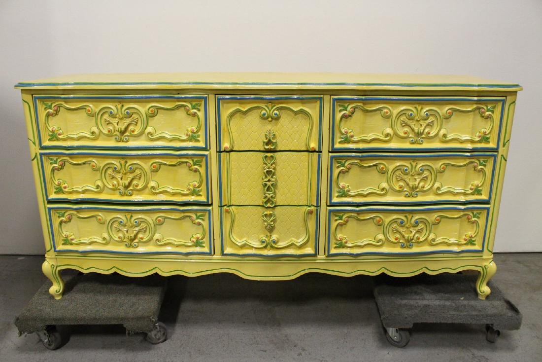 Painted yellow chest of drawers