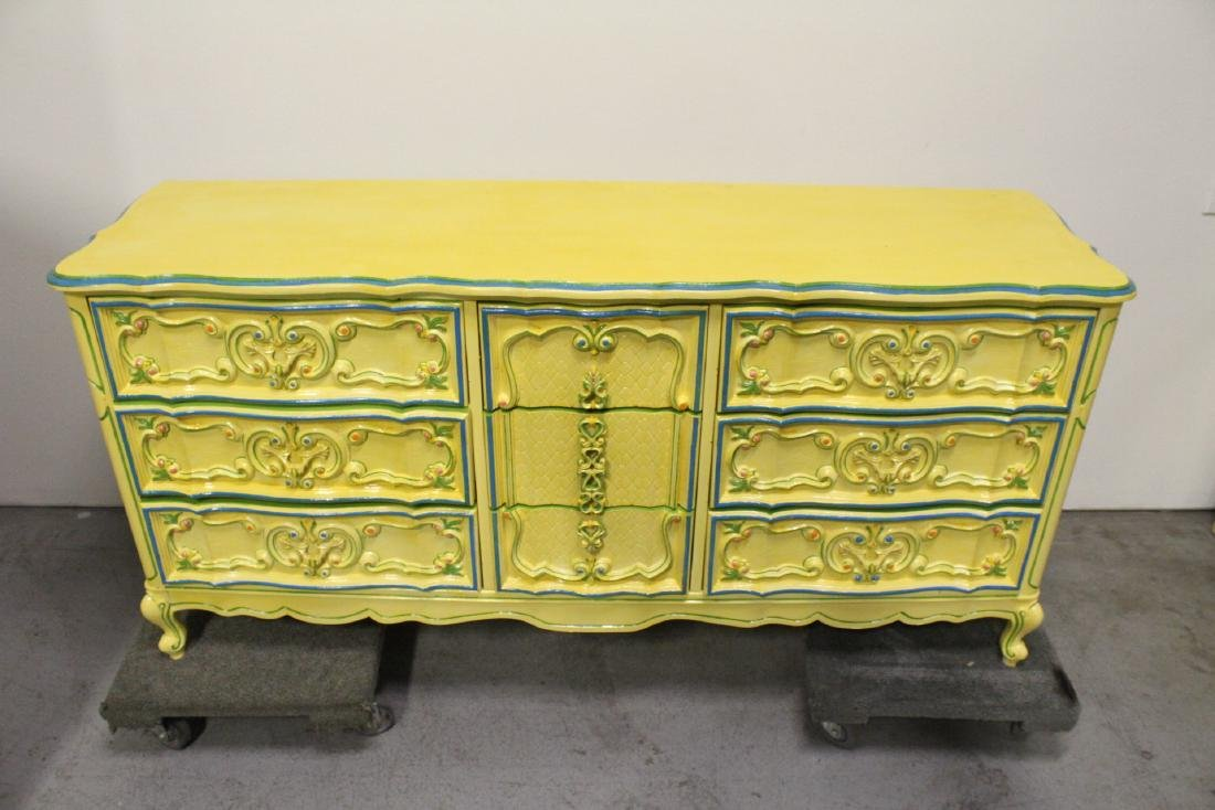 Painted yellow chest of drawers - 2
