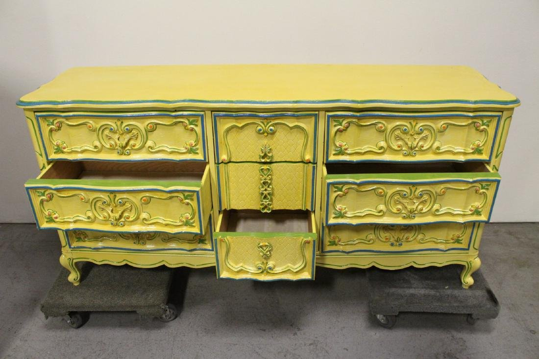 Painted yellow chest of drawers - 3