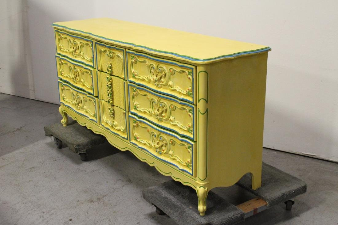 Painted yellow chest of drawers - 6