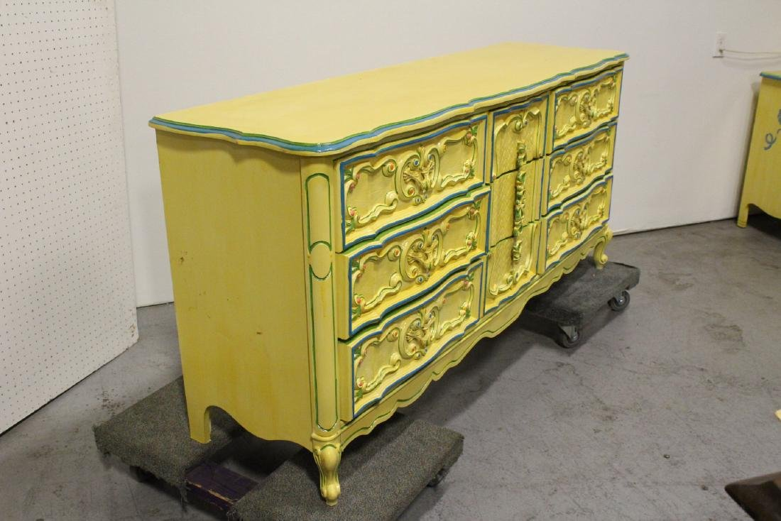 Painted yellow chest of drawers - 7