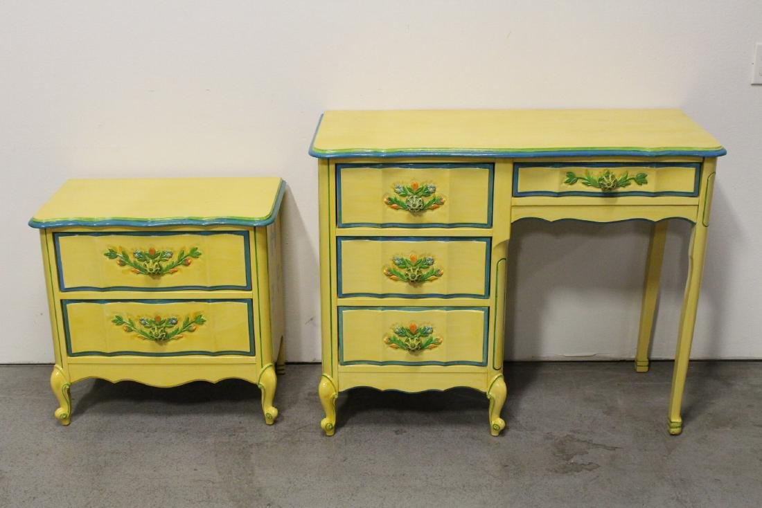 Painted yellow desk, and a painted yellow night stand