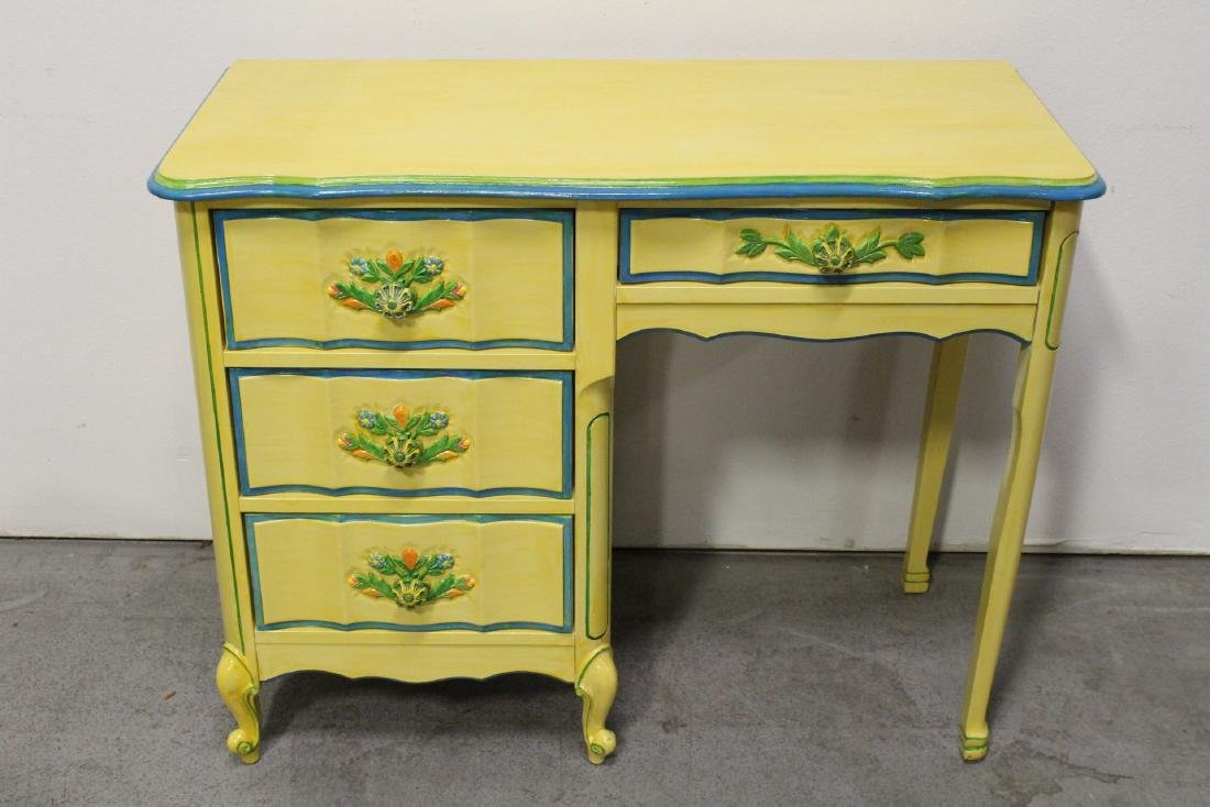 Painted yellow desk, and a painted yellow night stand - 2