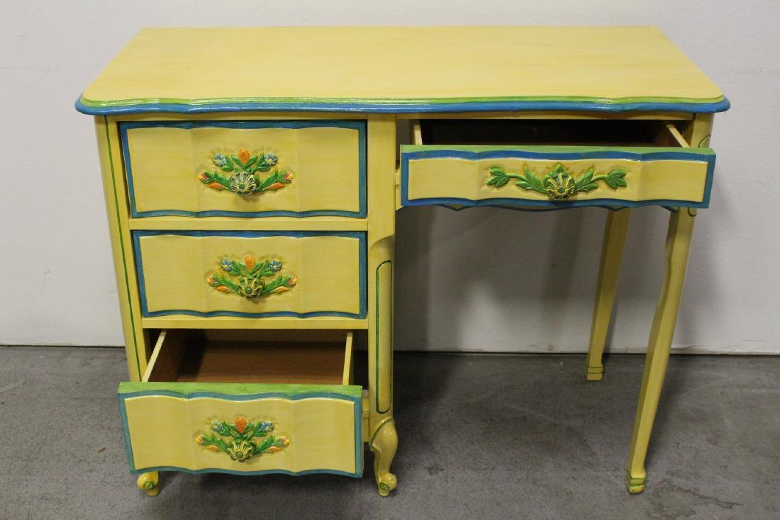 Painted yellow desk, and a painted yellow night stand - 3