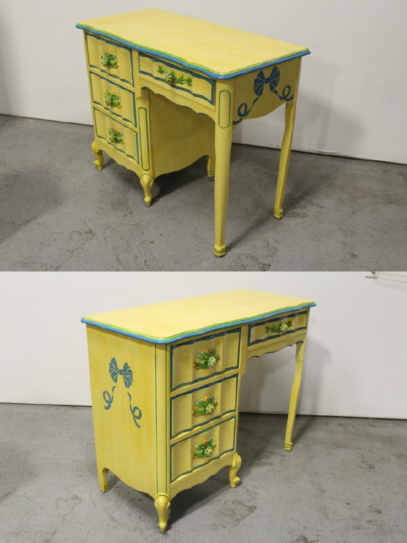 Painted yellow desk, and a painted yellow night stand - 5