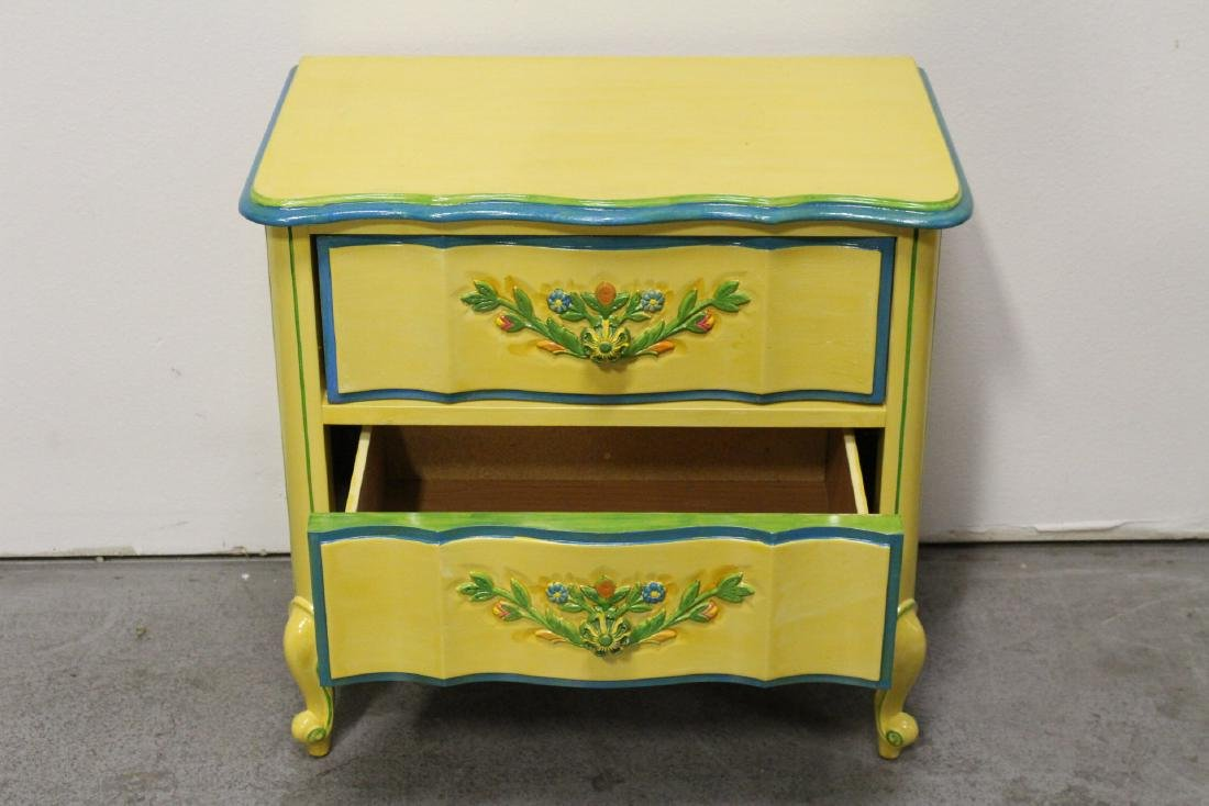 Painted yellow desk, and a painted yellow night stand - 6