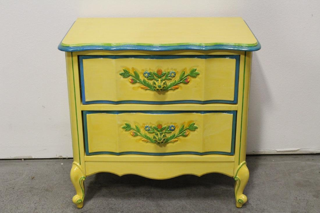 Painted yellow desk, and a painted yellow night stand - 7