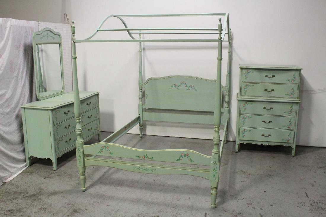 3 pieces painted green bedroom set