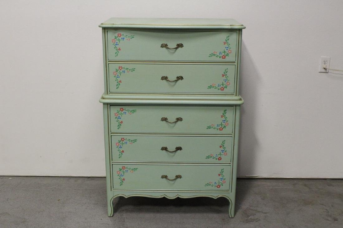 3 pieces painted green bedroom set - 2