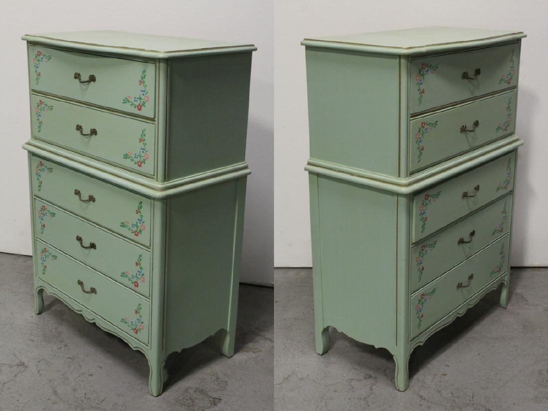 3 pieces painted green bedroom set - 3
