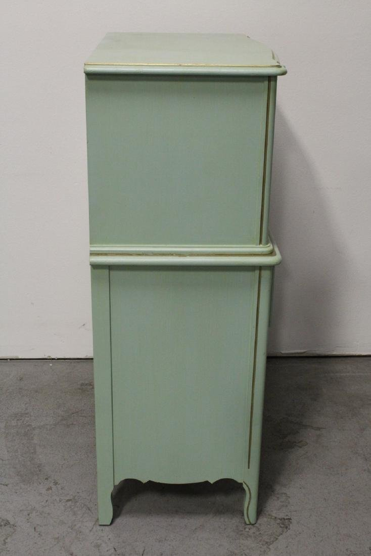 3 pieces painted green bedroom set - 4