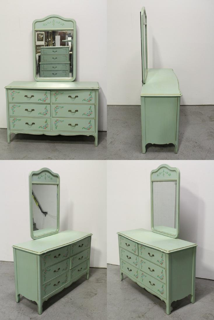 3 pieces painted green bedroom set - 6