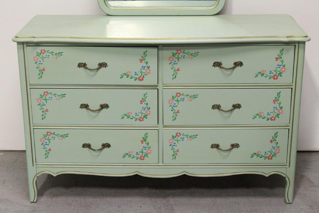 3 pieces painted green bedroom set - 7