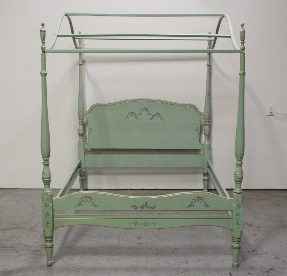 3 pieces painted green bedroom set - 8