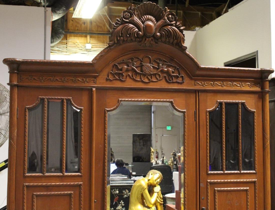 A very fancy Victorian mahogany armoire - 2