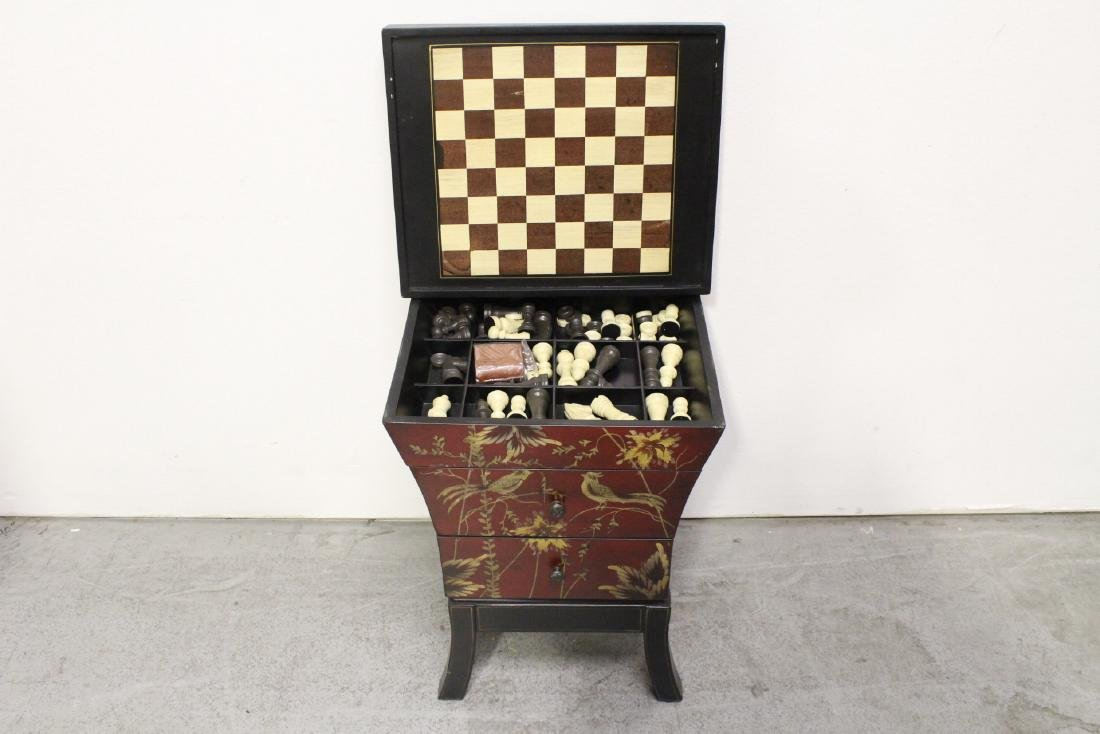 Lacquer chess stand with drawers