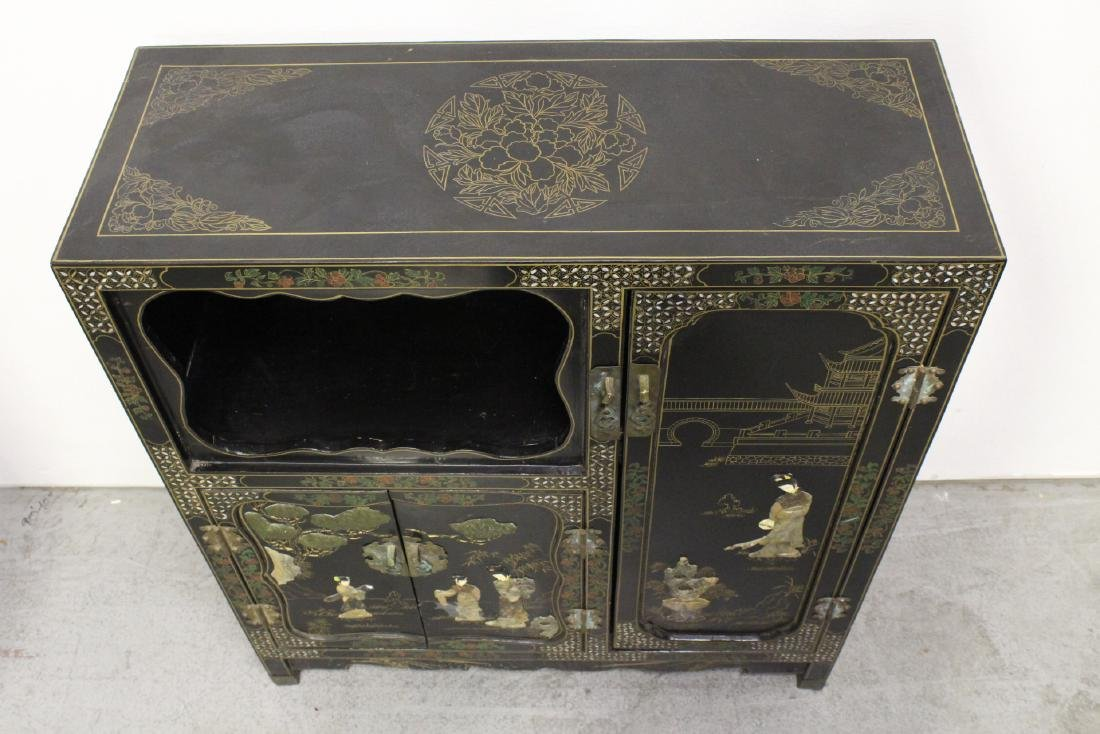 Chinese stone overlay lacquer cabinet - 10
