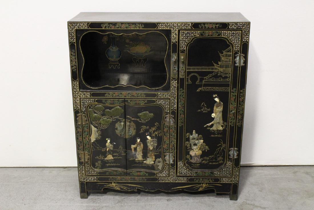 Chinese stone overlay lacquer cabinet