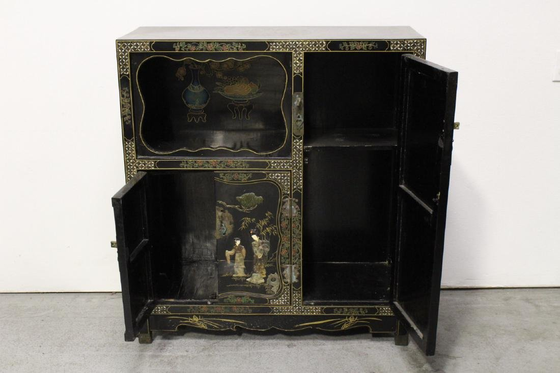 Chinese stone overlay lacquer cabinet - 2