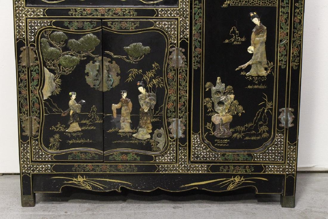 Chinese stone overlay lacquer cabinet - 3