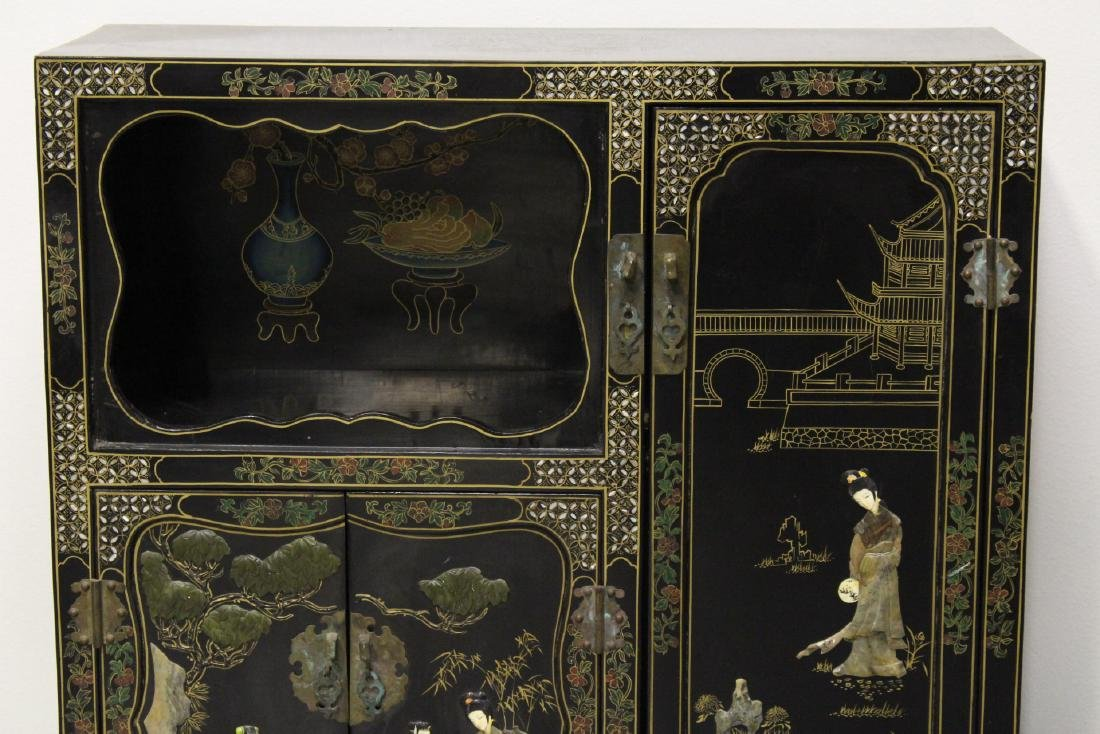 Chinese stone overlay lacquer cabinet - 4