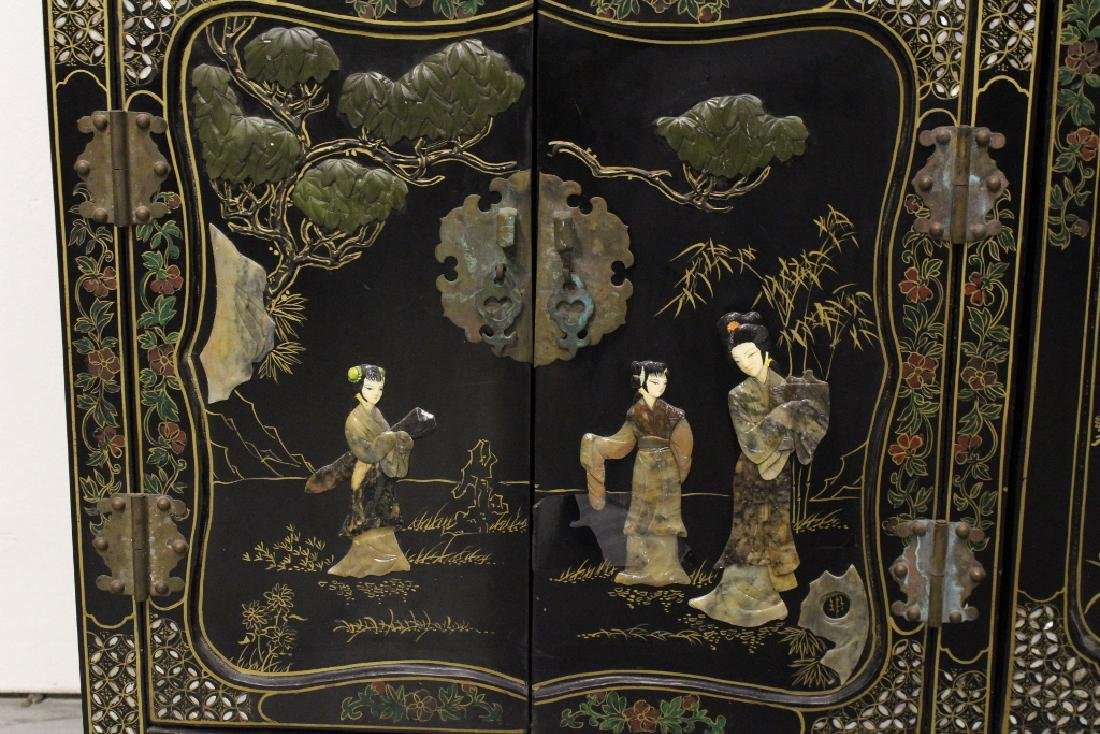 Chinese stone overlay lacquer cabinet - 5