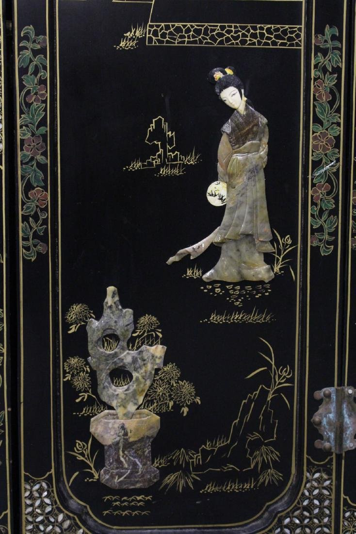 Chinese stone overlay lacquer cabinet - 6