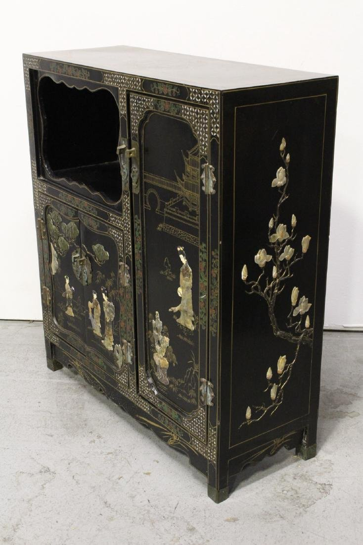 Chinese stone overlay lacquer cabinet - 7