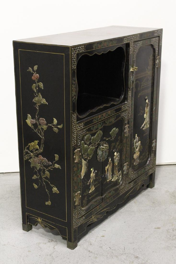 Chinese stone overlay lacquer cabinet - 8