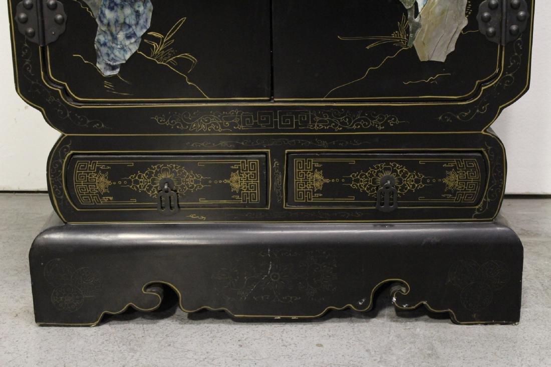 Pair Chinese stone overlay cabinets - 10