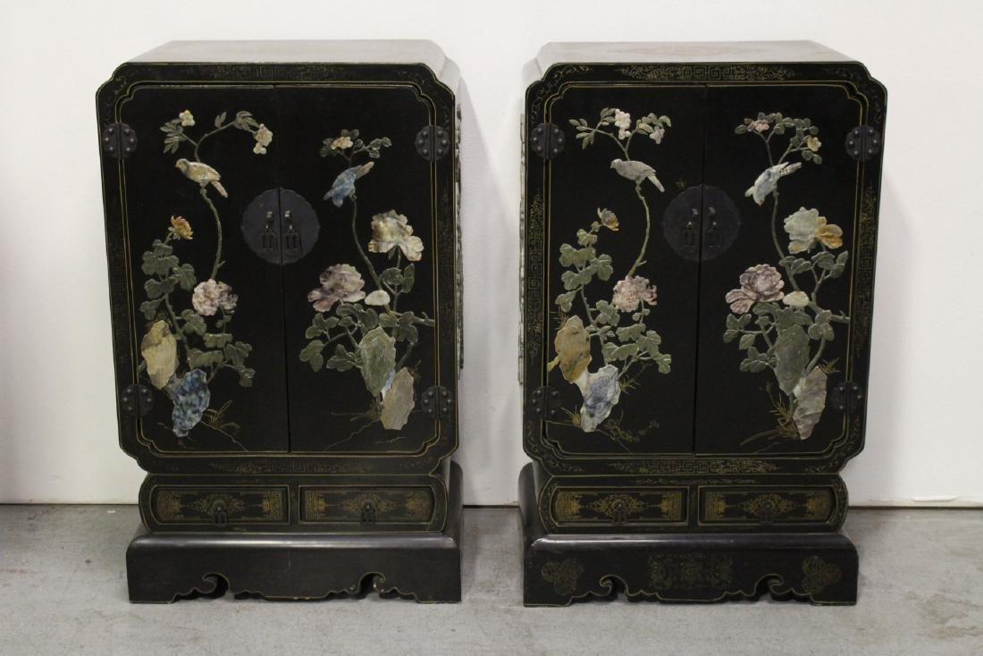 Pair Chinese stone overlay cabinets