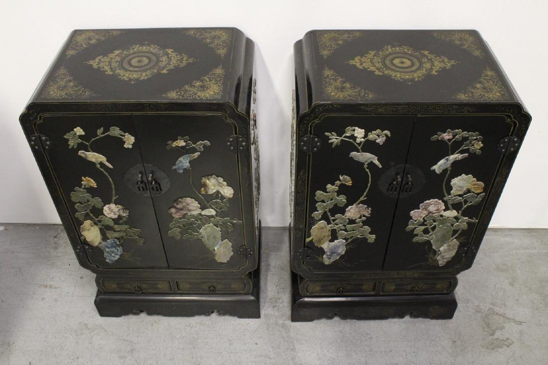 Pair Chinese stone overlay cabinets - 2