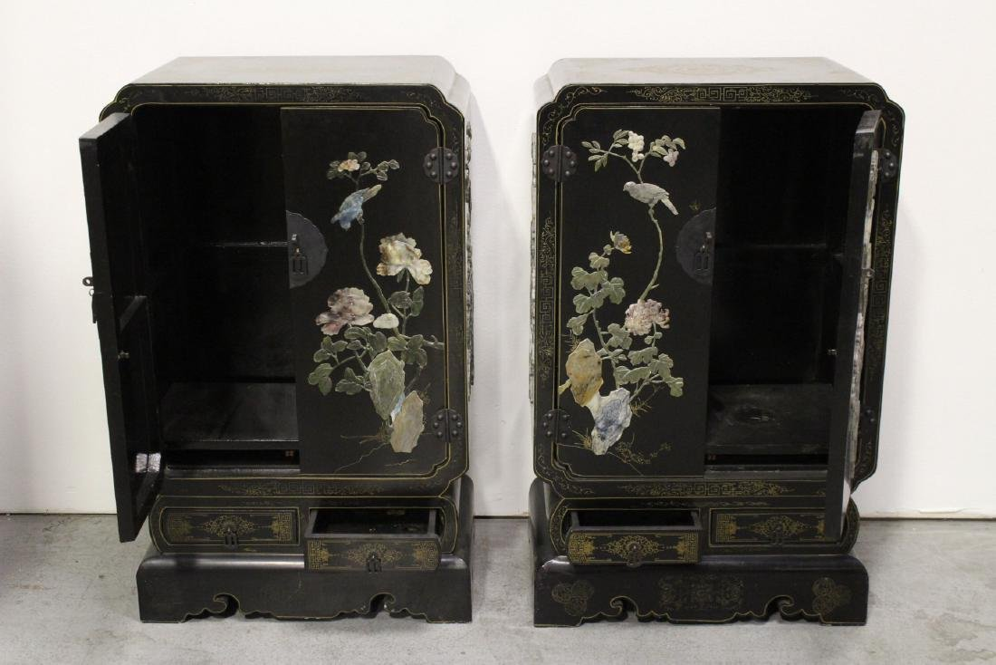 Pair Chinese stone overlay cabinets - 3