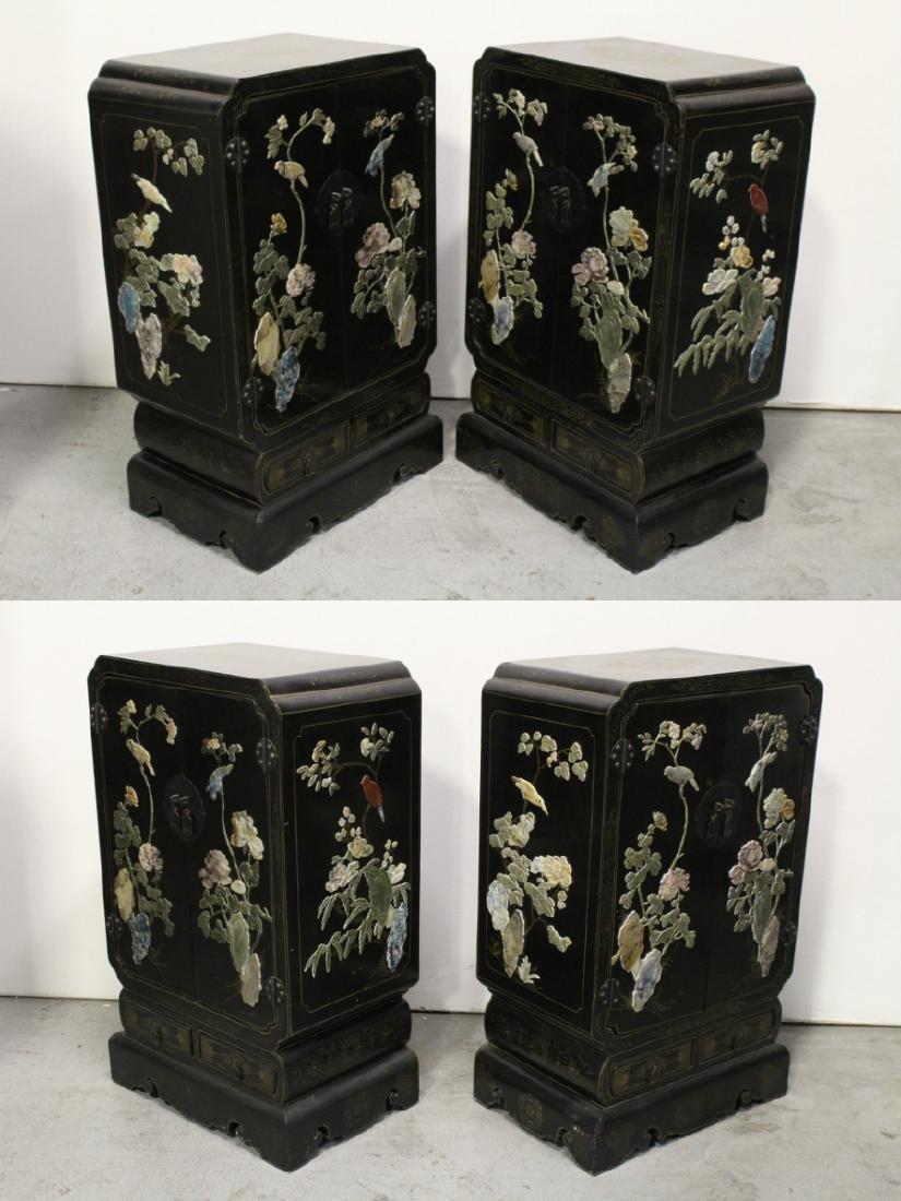 Pair Chinese stone overlay cabinets - 4