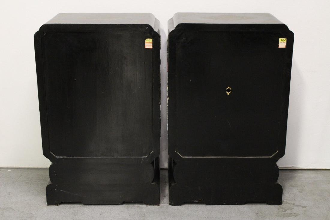 Pair Chinese stone overlay cabinets - 6