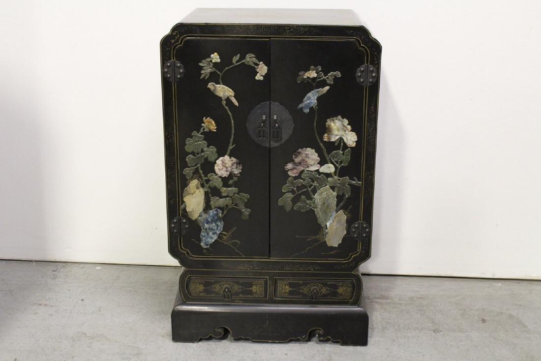 Pair Chinese stone overlay cabinets - 7