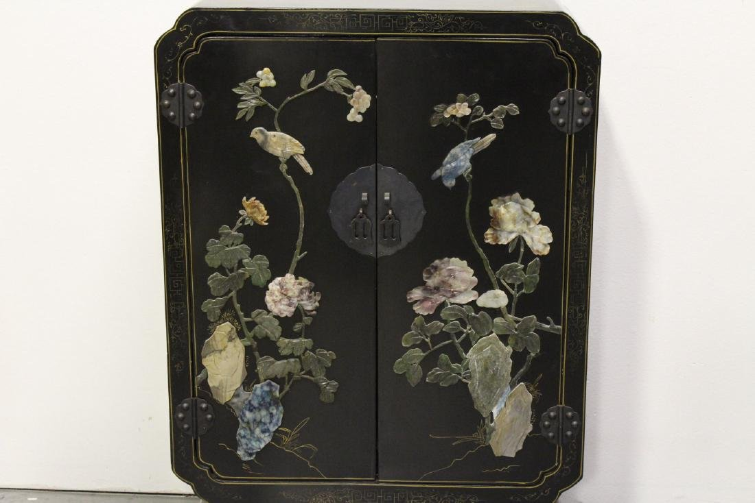 Pair Chinese stone overlay cabinets - 8