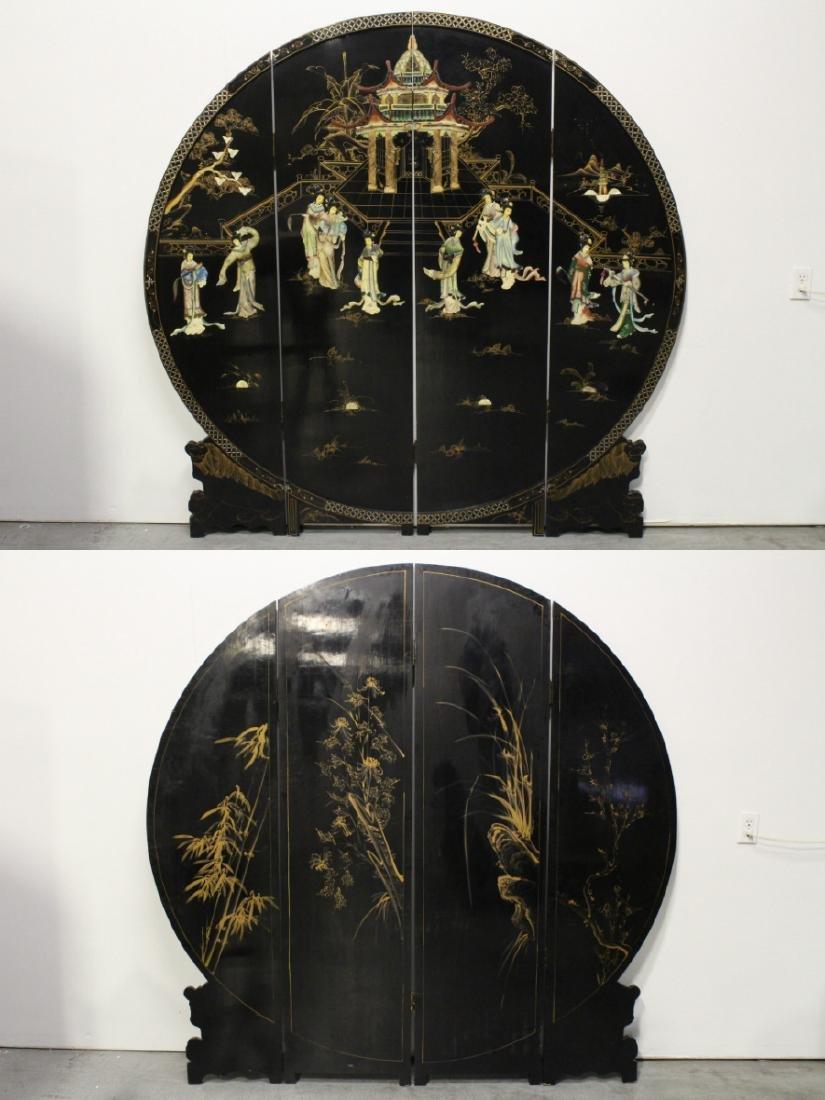 Chinese 4-panel coromandel room divider
