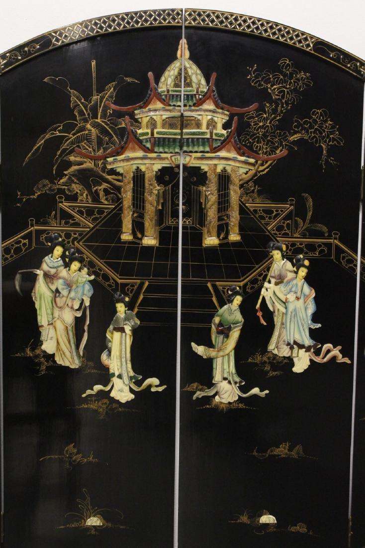Chinese 4-panel coromandel room divider - 4