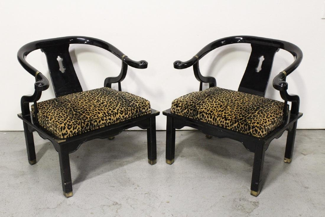 Pair Chinese black lacquer armchairs - 3