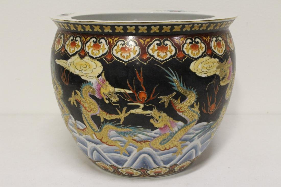 Black background famille rose fish bowl - 2