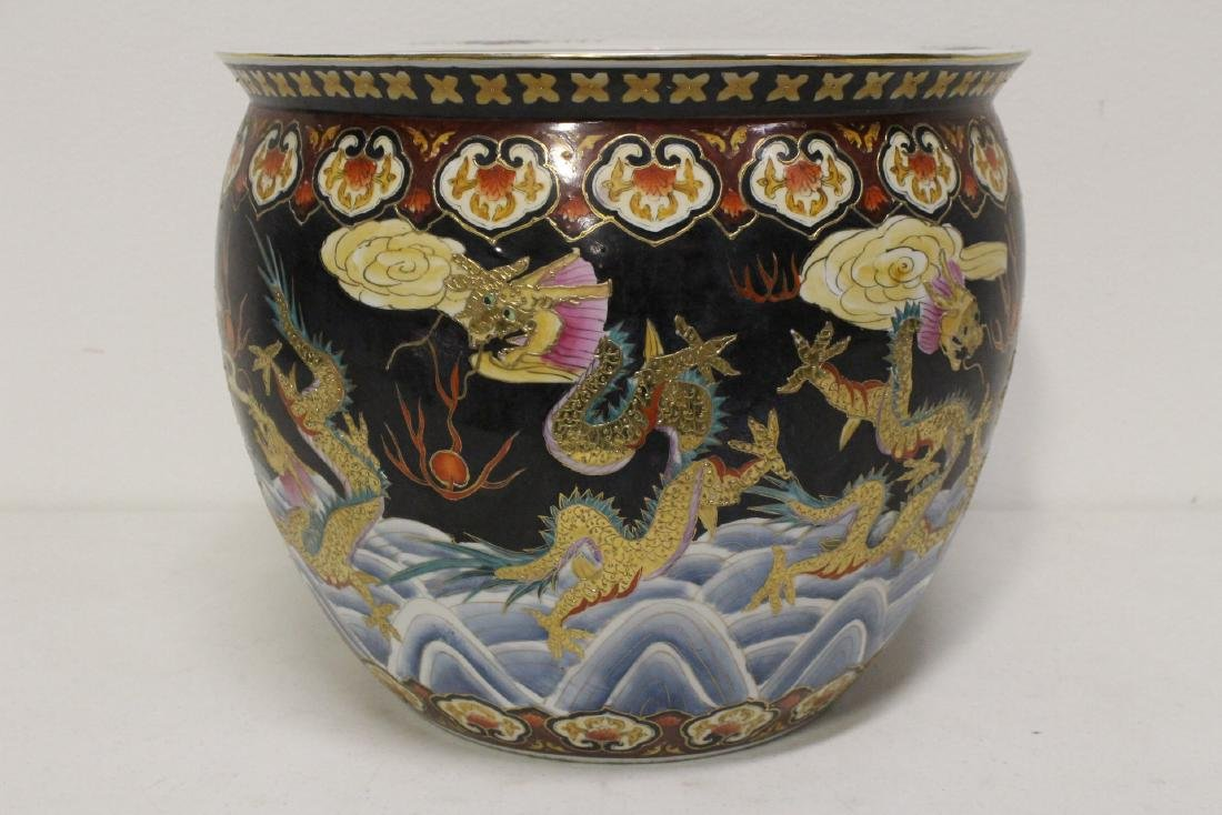 Black background famille rose fish bowl - 3