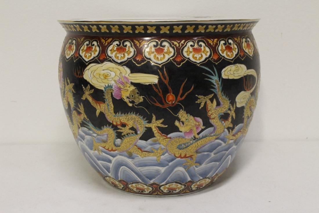 Black background famille rose fish bowl - 4
