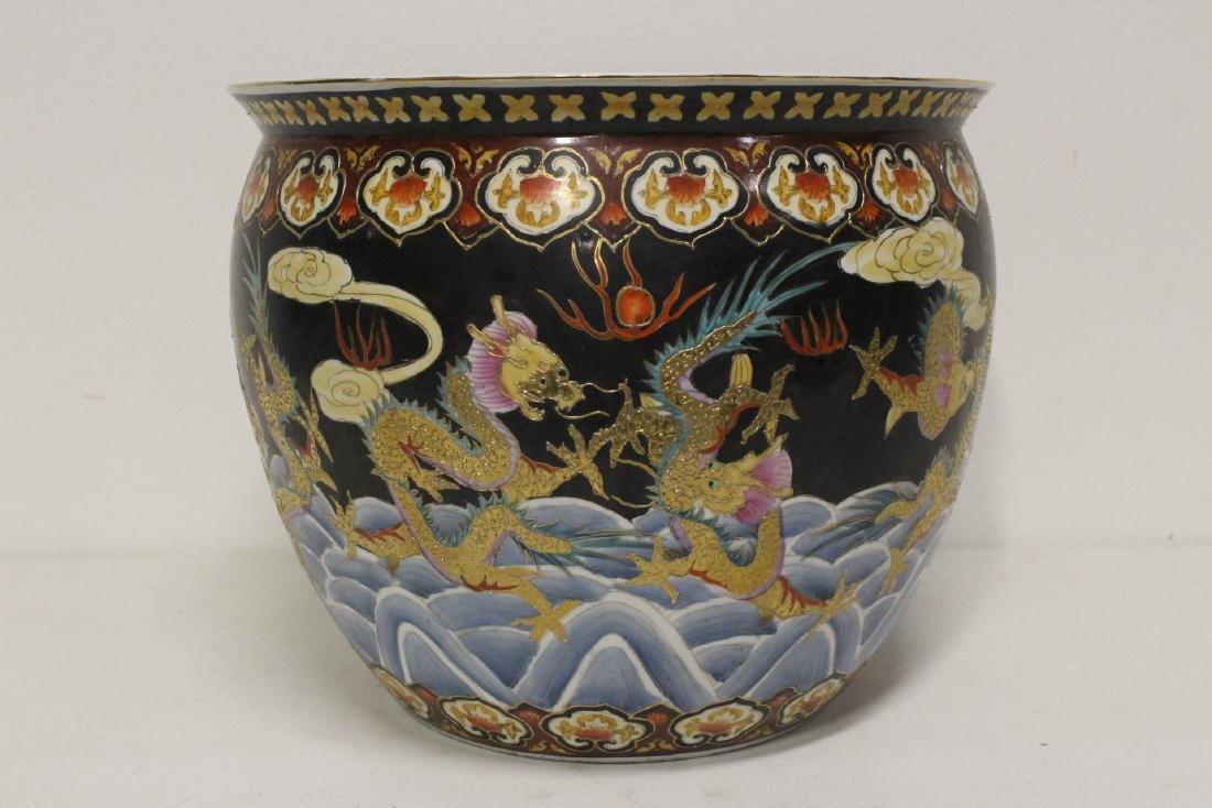Black background famille rose fish bowl - 5