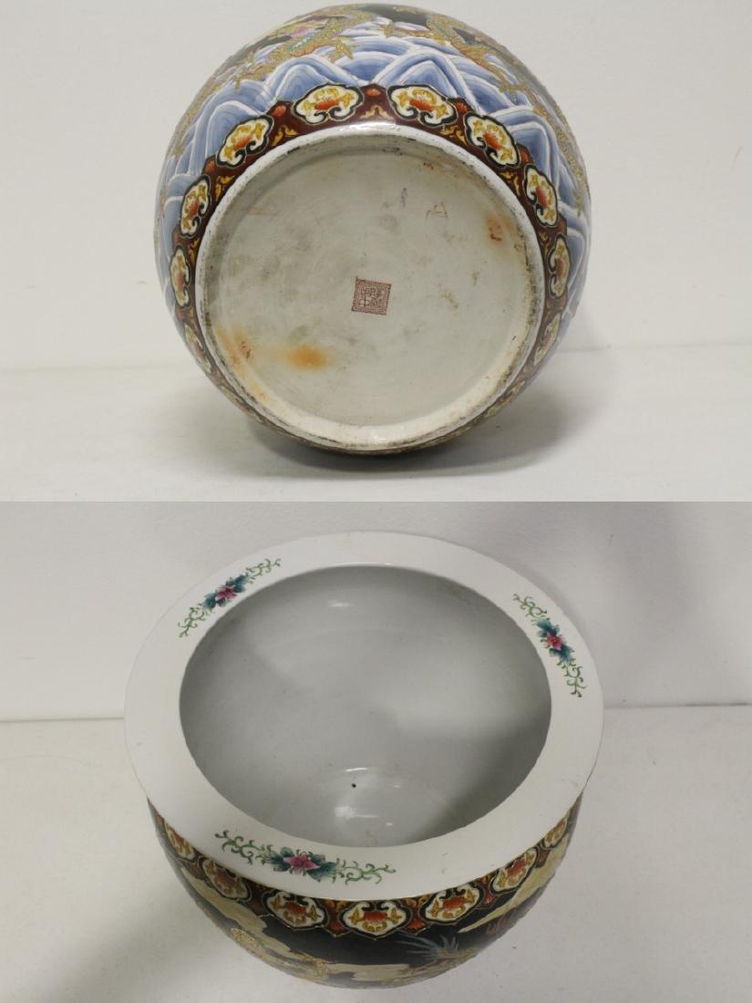 Black background famille rose fish bowl - 9