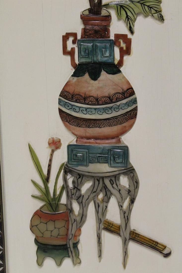 6 lacquer wall hangings w/ MOP & stones overlay - 6