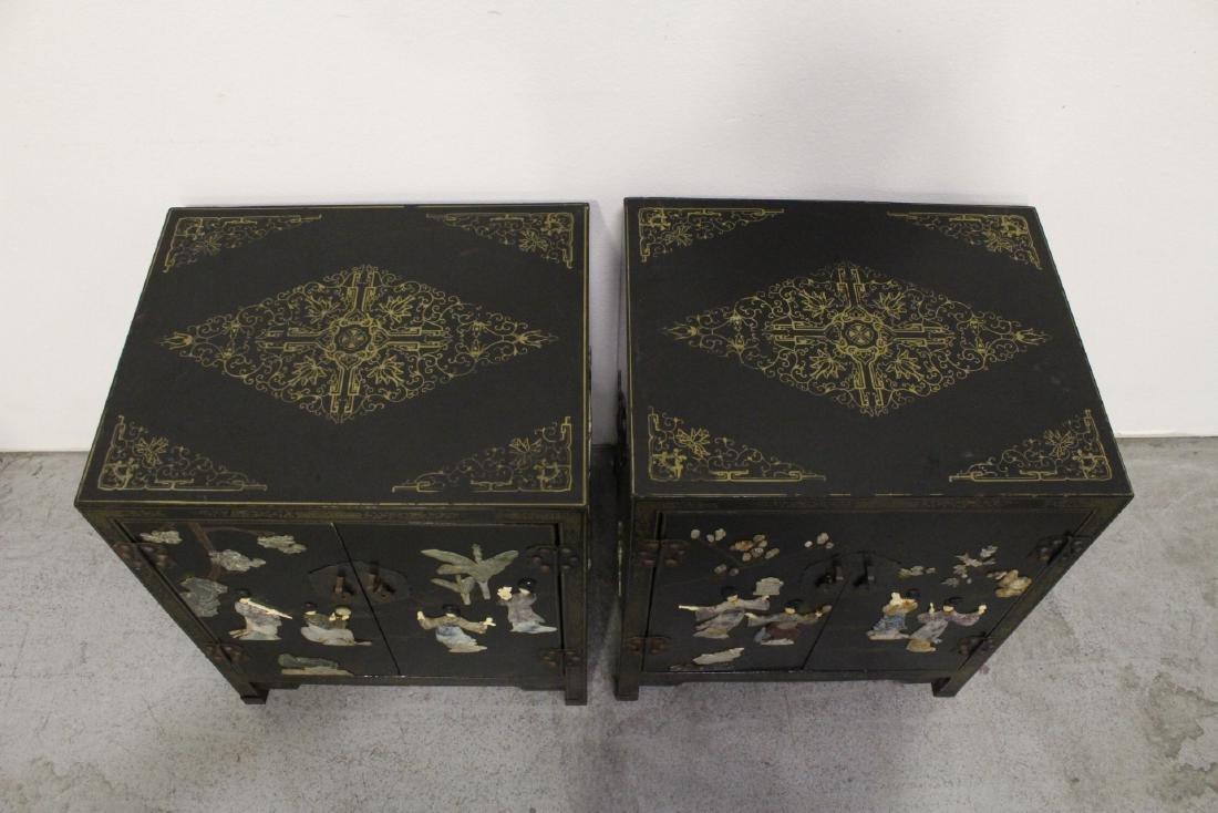 Pair Chinese stone overlay cabinets - 2