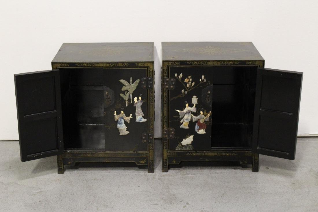 Pair Chinese stone overlay cabinets - 3