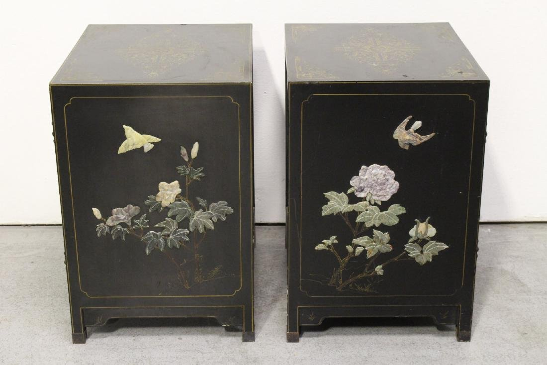 Pair Chinese stone overlay cabinets - 5