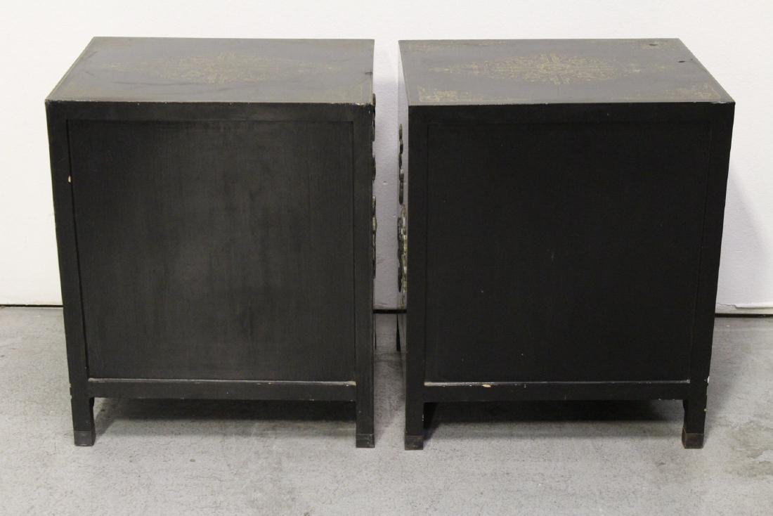 Pair Chinese stone overlay cabinets - 6